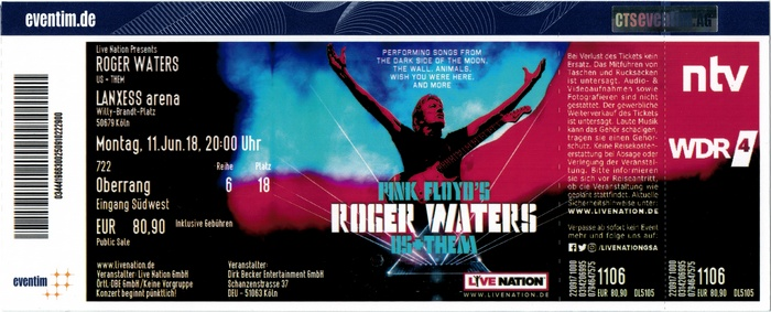 Roger Waters - Us + Them Tour 2018
